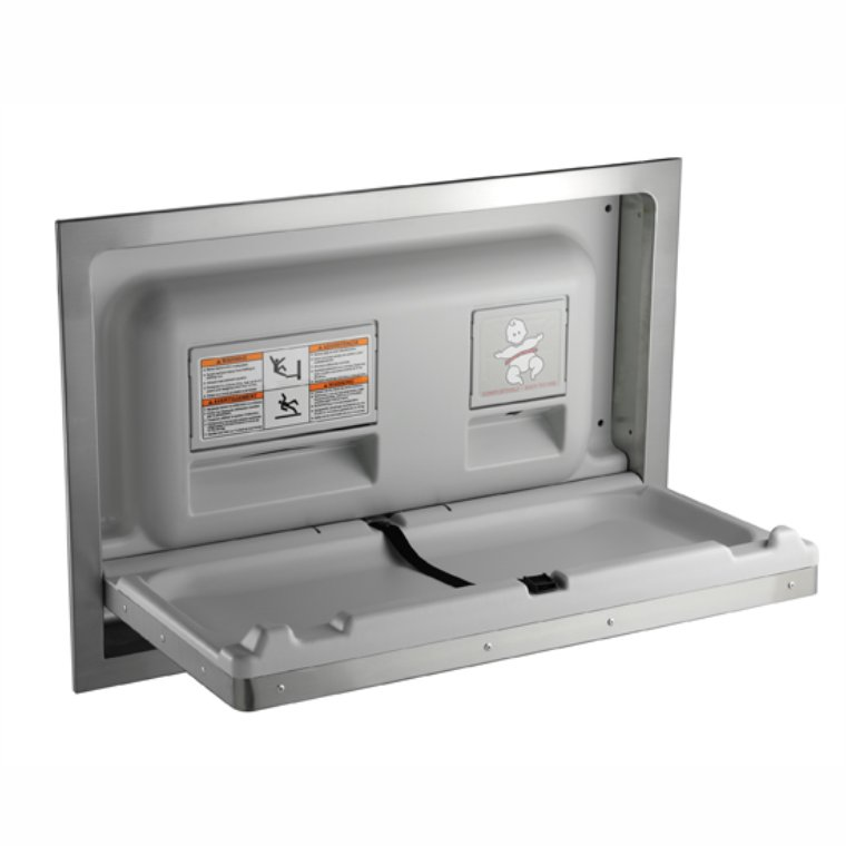 recessed stainless steel baby change unit