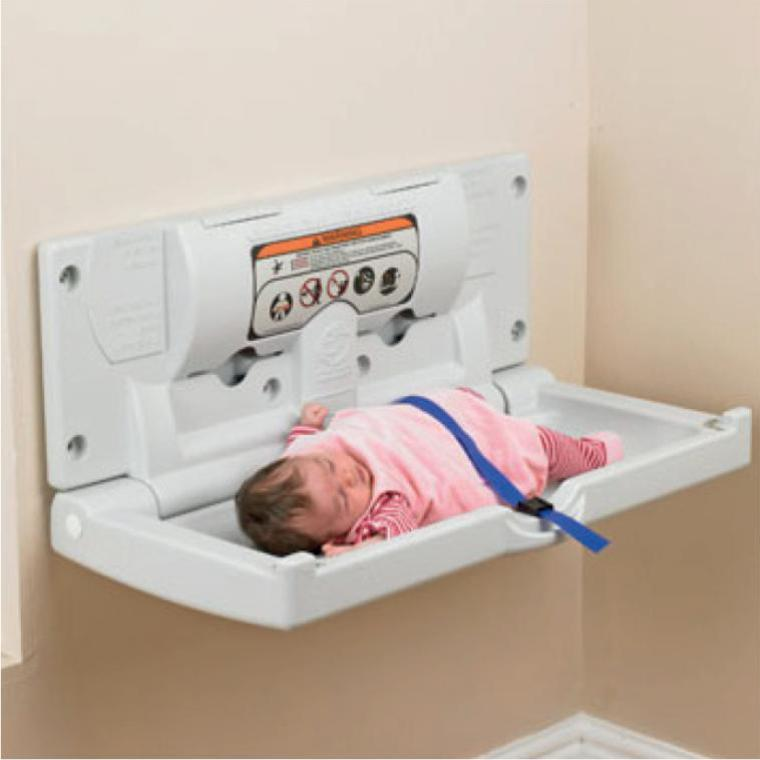 A horizontal baby changing station